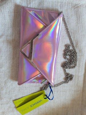 holographische Versace Jeans Tasche Clutch rosa silber