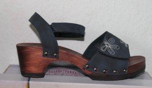 Sandales à talons hauts et plateforme bleu-brun cuir