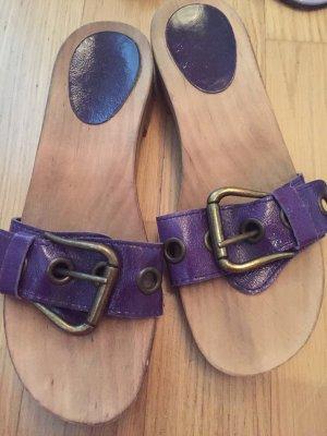 Sandalen met bandjes en hoge hakken donkerpaars