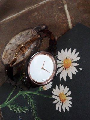 Holz Uhr KERBHOLZ Farbe:Dunkelbraun & Roségold Holzarmband
