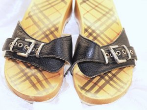 Burberry Clog Sandals black-beige wood