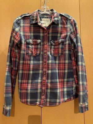 Abercrombie & Fitch Camisa de leñador rojo oscuro-azul oscuro