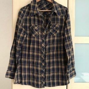 Holzfällerhemd dunkelblau-senfgelb
