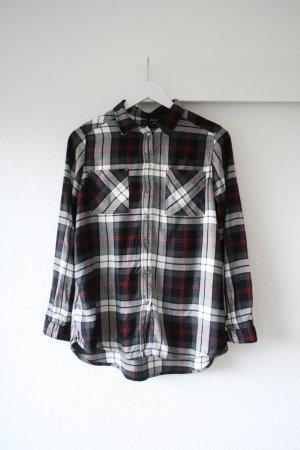 Holzfällerhemd, schwarz/grau/weiß/rot, Nieten