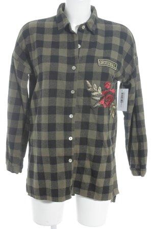 Camisa de leñador negro-caqui estampado a cuadros estilo boyfriend