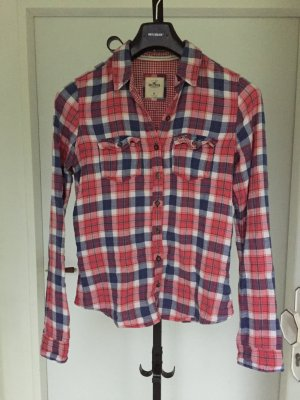 Hollister Lumberjack Shirt brick red-steel blue cotton