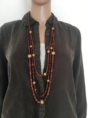 Collana marrone-oro Legno