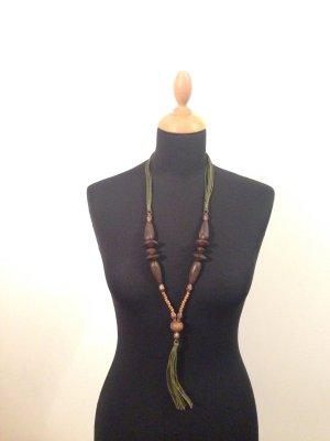 Holzkette Schnüre Perlen Fransen Lang Ethno Afrika Safari Sommer oliv braun