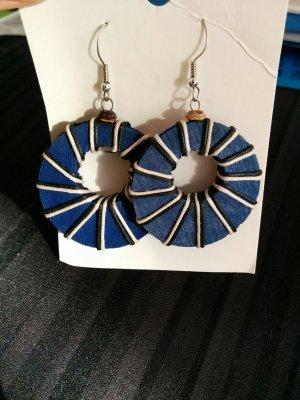 Holzohrringe Ohrhänger Creolen blau schwarz weiß aus Spanien NEU