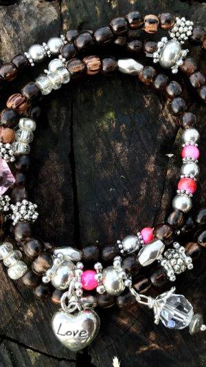 Holzperlen Armband Kokosnussperlen 3reihig