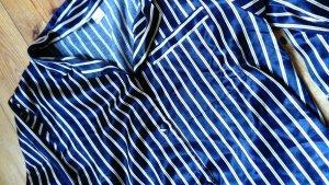 Homewear Pyjama Zweiteilig Seidensatin Gestreift Navy Gold