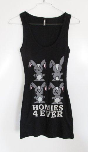 Homies 4 Ever Top Boxer Shirt Größe S 36 Madonna Schwarz Glitzer Hasen Rip Motiv Bedruckt Ringer Tank Top Longshirt