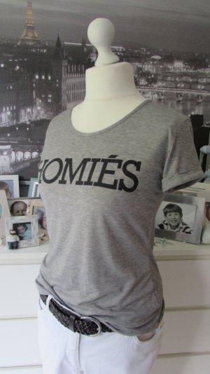 Homies * Freches Viskose Shirt Blogger * grau meliert Print * S=36/38