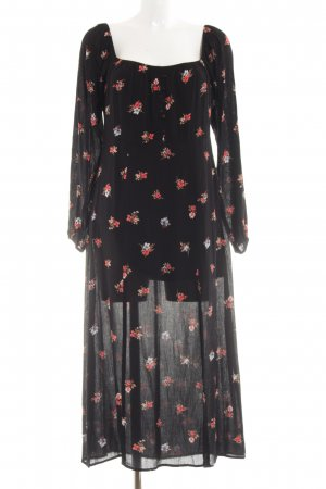 Honey Punch Off the shoulder jurk zwart bloemenprint casual uitstraling