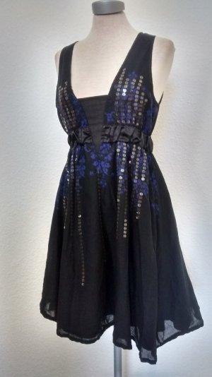 Hooch Kleid schwarz blau + Pailletten Baumwolle gothic Partykleid kurz Gr. 38 S M UK 10