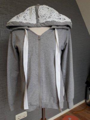 Pull à capuche blanc-gris clair