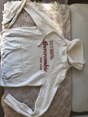Abercrombie & Fitch Felpa con cappuccio bianco sporco-rosso scuro