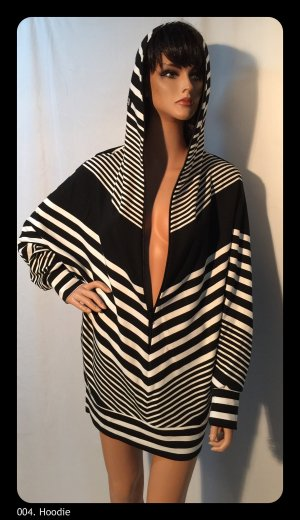 Hooded Shirt black-white