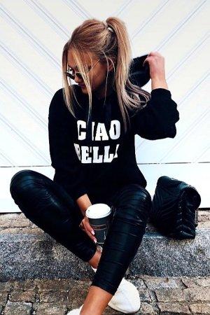Jersey con capucha negro-blanco tejido mezclado