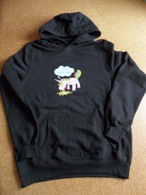 Sweatshirt met capuchon zwart-roze Katoen