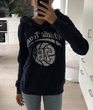 Capuchon sweater donkerblauw-wit