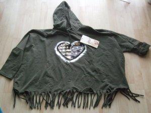 Sweatshirt met capuchon olijfgroen Katoen