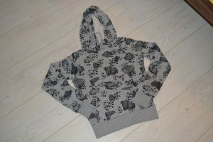 Hoodie Pullover Kapuze schwarz grau