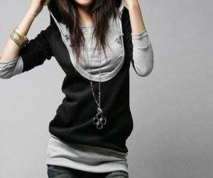 Hoodie Pullover * schwarz-grau * Gr. M