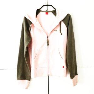 hoodie / sweatjacke in oliv / rosa