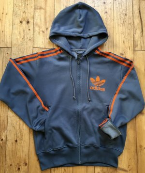 Adidas Chaqueta de tela de sudadera naranja neón-azul aciano
