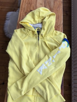 Pink Hooded Vest yellow-blue