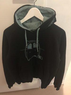 Capuchon sweater zwart-munt