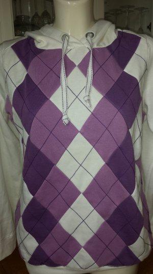 Hoodie. weißer Kapuzen Sweater mit Rhombenmuster