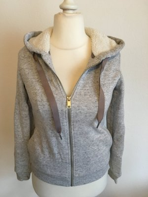 Hoodie Zipper Pullover mit Kapuze grau warm gefüttert Gr. XS TOP