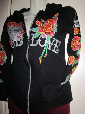 Hoody Blumen Blüten schwarz rot Rosen Print Reißverschluss Jacke Cardigan 34 36 38 S M