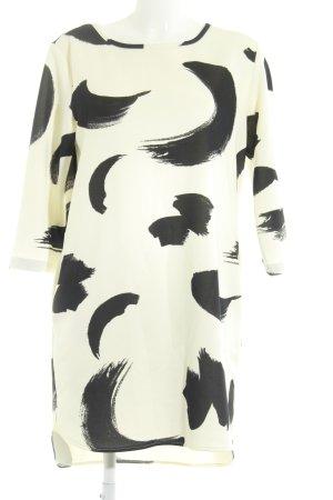 Hopper Vestido línea A blanco puro-negro estampado con diseño abstracto