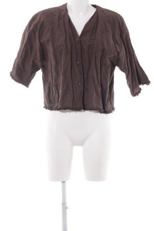 Hopsack Kurz-Blazer dunkelbraun-silberfarben meliert extravaganter Stil