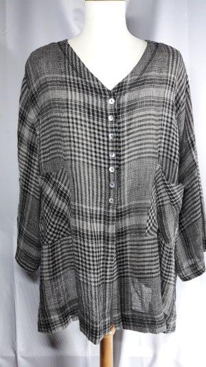 Hopsack,Oversize Bluse,90%Leinen,Karo,schwarz-taupe,Gr.50