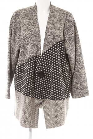 Hopsack Knitted Coat black-cream abstract pattern casual look