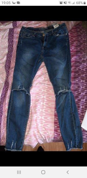Jessica Howard Low-Rise Trousers steel blue-cornflower blue