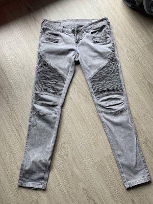 Biker jeans lichtgrijs