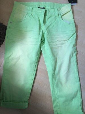 Gina Pantalon 3/4 vert pâle-jaune primevère