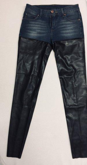 Mango Jeans Stretch jeans staalblauw Imitatie leer