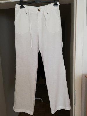 Pantalón de lino blanco-blanco puro Algodón