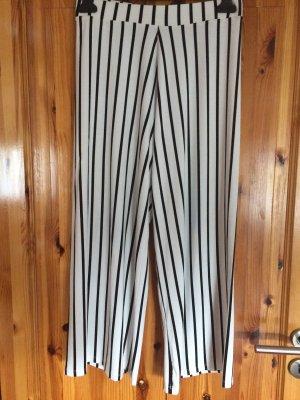 Pantalón palazzo blanco-negro