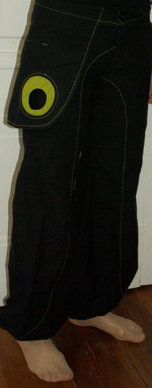 Sarouel noir-vert prairie coton