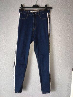 Zara Trafaluc High Waist Trousers white-blue