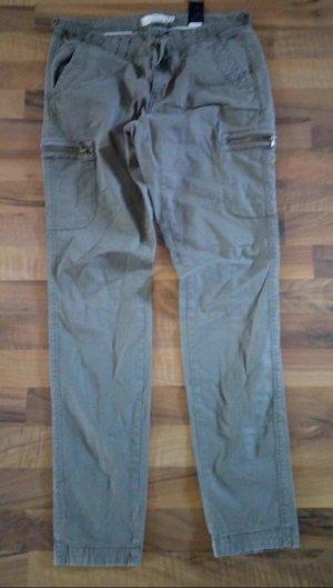 H&M Kaki broek groen-grijs-khaki