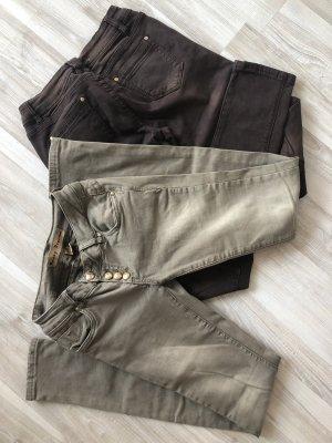 Monday Premium pantalón de cintura baja gris verdoso-marrón oscuro