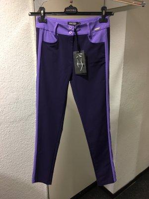 Ancora Pantalone jersey viola scuro-bianco